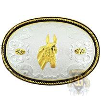 Fivela Cabeça De Mula Banho Dourado E Prata - Sumetal 5332