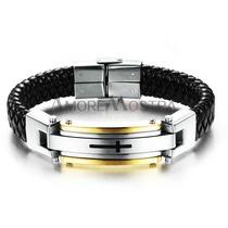 Pulseira Bracelete Masculino Aço E Couro Banho Ouro18k(1)