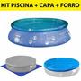 Kit Piscina Inflavel 2400 Litros Splash Fun + Capa + Forro