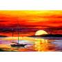 Quadro Decorativo Aquarela Barco E Por Do Sol 60x40