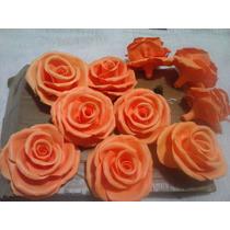 Rosa Em Biscuit Feita À Mão.7cm Pacot C/10 Peças.cor Branca