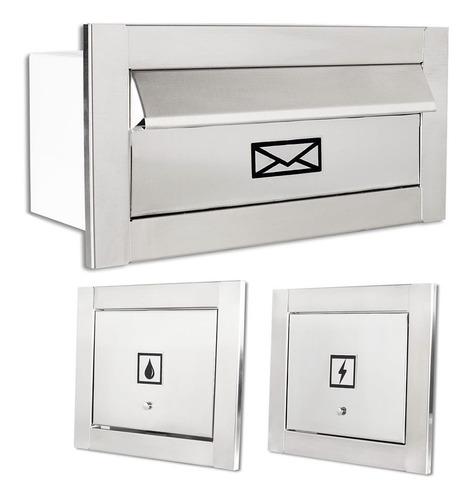 Caixa De Correio Carta + Visor Água + Luz Inox Escovado