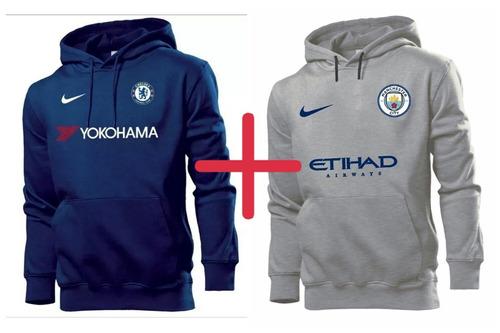 401026f780312 Kit 2 Blusas Moletom Chelsea + Manchester City 2019 Moleton