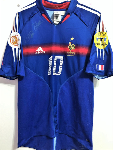 Camisa França Euro 2004 Zidane  10 Autografada. R  749.9 fb3f0aaba0566