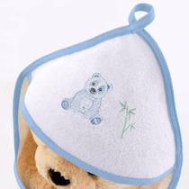 Toalha De Banho Bebê Com Capuz Bordado Panda Azul Buettner