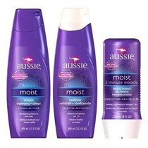 Aussie Kit Shampoo + Condicionador + Máscara Moist 3 Minutos