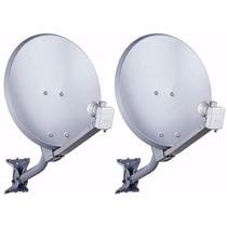 2kit Antena 60cm Banda Ku +fixação + 2 Lnbs