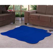 Tapete Ondulado Tecido Pelúcia 1,33m X 1,33m Azul Royal