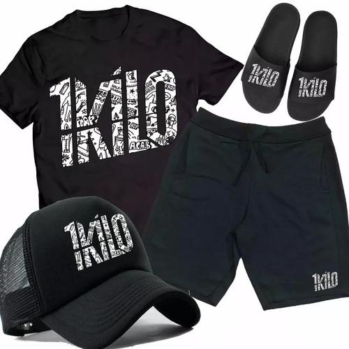 Kit Camiseta + Bermuda + Boné + Chinelo 1kilo Rap Grafitado e14a269fe58aa