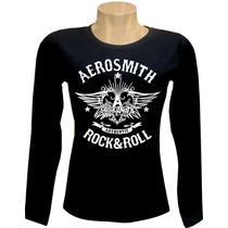 Camiseta Feminina Manga Comprida Aerosmith Rock Bandas