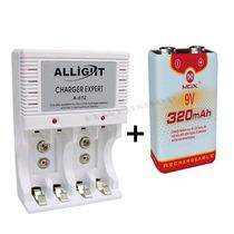Kit7 Com Carregador Pilha Aaa Aa 9v + Bateria Recarregável