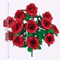 Bq C/12 Rosas Cores Diversas 42cm(0239b1)-flores Artificiais