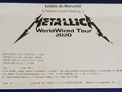 1 Ingresso Metallica Pista Premium Sp Morumbi 25/04/20
