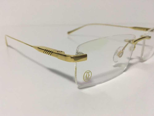 3d94639e6f416 Armação Óculo Sem Aro Cartier Dourado Novo