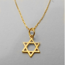 Corrente Colar Estrela De David De Ouro 18k Marculino