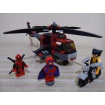 Bozhi Lego Marvel Wolverine Magneto Deadpool Helicóptero Mot