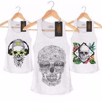 Camisa Camiseta Regata Masculina Caveira Skull Rock Mexicana