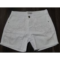 Bermuda Jeans Feminina Branca Com Brilho ! Tam 36 E 40! Nova
