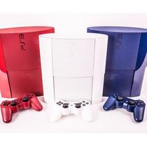 Sony Ps3 500gb C/ 74 Jogos Originais Azul Vermelho Ou Branco