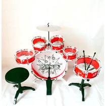 Bateria Musical Infantil Banco 6 Tambores Baquetas Pedal