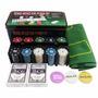 Kit Poker Texas Holdem Lata 200 Fichas 2 Baralhos Feltro