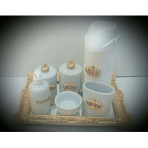 Kit Bebe Higiene Porcelana/resina Com Garrafa Termica