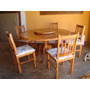 Conjunto De Mesa De Madeira Com 5 Cadeiras Estofadas