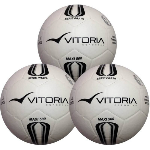 87cac12df 3 Bolas Futsal Vitoria Prata Max 100 Mirim Sub 11 Oficial
