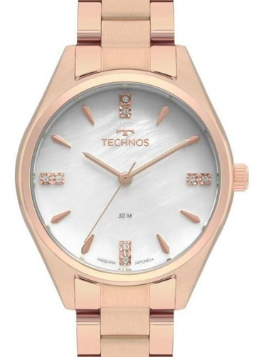 Relógio Technos Feminino Rose Gold Cristais