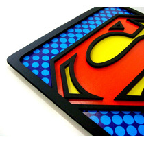 Quadro Super Heróis Grande 30x30cm Batman Superman Placa