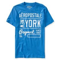 Camiseta Aeropostale Azul Claro Modelo 6820 Original Usa
