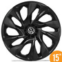 Calota Esportiva 15 Ds4 Preta Black Vw Fox Polo Golf 5 Furos