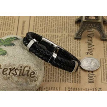 Bracelete Pulseira Masculina Vintage Couro E Aço Ph891