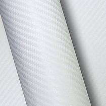 Vinil Adesivo Para Carro Fibra De Carbono Branco Larg.1,38 M