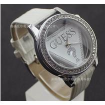 Relógio Automático Guess Branco Prata E Strass Frete Grátis