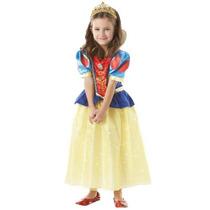 Fantasia Branca De Neve Princesa Disney Brilhante Com Coroa