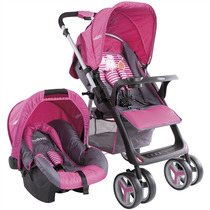 Travel System Carrinho De Bebê + Bebê Conforto Zap Rosa Kidd