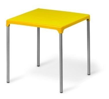 Mesa Plástico Pés Em Alumínio Jasmim Amarela Planmar