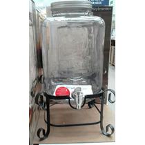 Dispenser De Bebidas De Vidro C/ Suporte Em Metal