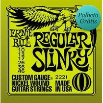 Encordoamento Ernie Ball Guitarra 0.10 2221 Palheta Grátis!