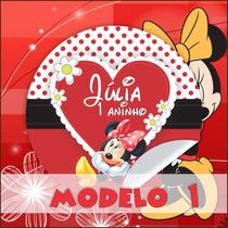 Minnie Vermelha Rótulos Personalizados 40 Unidade Só R$ 9,50