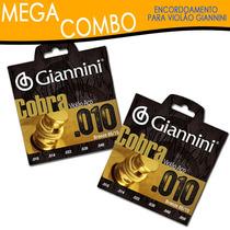 Kit Com 2 Encordoamentos Violão Bronze Cobra 0.10 - Giannini
