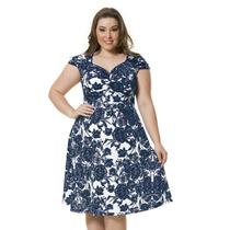 Moda Plus Size - Lindo Vestido Florido Azul