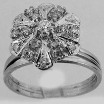 3902 Anel De Ouro Branco 18k 750 Com Diamantes Y