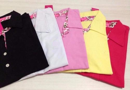 Kit Atacado 3 Camisas Polo Feminina Camiseta Blusa Babylook - R  66 ... 1ae6c3b603ac0
