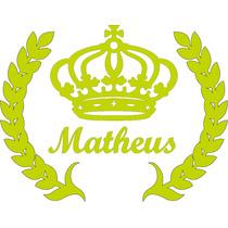 Coroa + Nome Dourado Mdf Provençal Decor Festa Parede 50cm