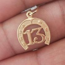 Pingente Número 13 Com Ferradura Ouro18k - 12134472
