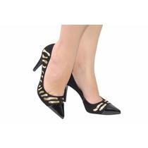Sapato Feminino Scarpin Preto Com Detalhes Dourado Esdra