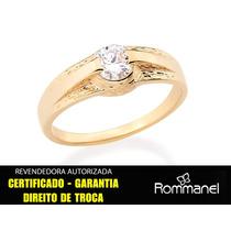 Anel Solitário Tendo Filete Liso Ouro Rommanel 5 Mm 511871
