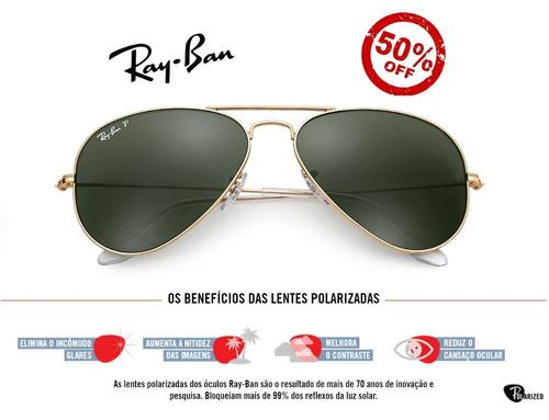 5bf652e0b Oculos Sol Ray-ban 3025 Aviador Dourado Verde Polarizado